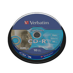 Verbatim CD-R 700MB 52x 10-pack Cakebox Lightscribe