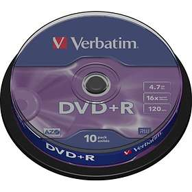 Verbatim DVD+R 4.7GB 16x 10-pack Cakebox