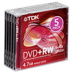 TDK DVD+RW 4.7GB 4x 5-pack Jewel Case