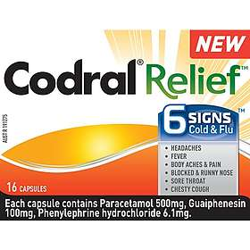 Johnson & Johnson Codral Relief 6 Signs Cold & Flu 500mg 16 Capsules