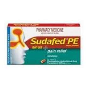 McNeil Sudafed PE Sinus & Pain Relief 500mg 48 Tablets