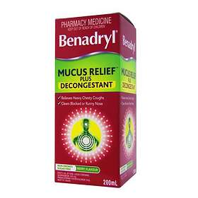 Johnson & Johnson Benadryl Mucus Relief Plus Decongestant Elixir 200ml