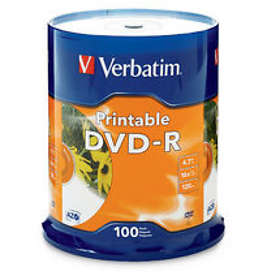 Verbatim DVD-R 4.7GB 16x 100-pack Cakebox Inkjet