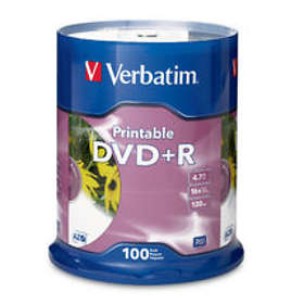 Verbatim DVD+R 4.7GB 16x 100-pack Cakebox Inkjet