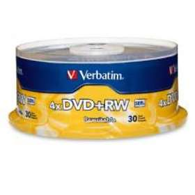 Verbatim DVD+RW 4.7GB 4x 30-pack Cakebox
